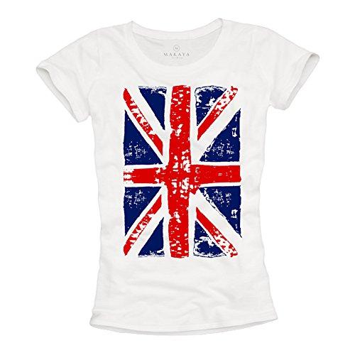 Union Jack - Camiseta con Bandera de Inglesa para Mujer - Blanca L