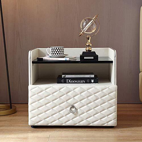 ZGYQGOO Nachttische-Leder Nachttisch Einfache Moderne Mode Hauptschlafzimmer Mini Provincial Space Multifunktions Nachttisch Kleinschrank (Farbe: Weiß)