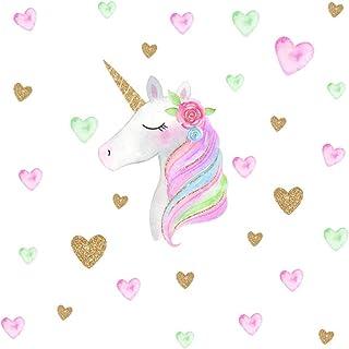 Sunlly Cute Unicorn Hearts Wall Sticker Peel& Stick...