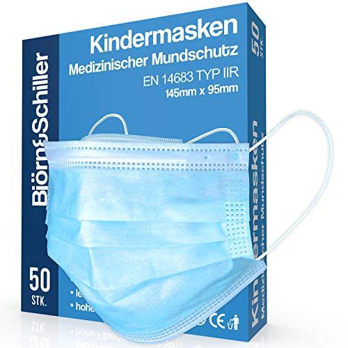 OP Masken Kinder CE zertifiziert EN 14683 Type IIR, 50 Stück, medizinischer Mundschutz, 3-lagige Einweg Kindermasken blau, atmungsaktive und komfortable Einwegmaske, Mund und Nasenschutz