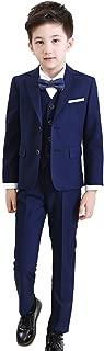 Boys Formal Tuxedo Suits 5 Pieces Jacket+Pants+Vest+Shirt+Bow Tie 3 Colors Black Navy Plaid