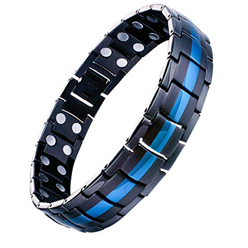 Feraco Magnetic Bracelets for Men Pain Relief Titanium Steel Double Row Strong Magnets Bracelet with Unique Blue Line, Adjustable