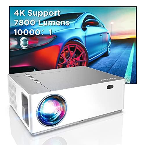 """Bomaker Videoprojecteur, 4K et 300"""" Soutien, 7800 Projecteur Natif Full HD 1080P, 6D±50° X/Y Keystone et 50% Zoom, Retroprojecteur avec Deux Ports HDMI/USB pour Home Cinéma, TV Stick, Smartphone, PC"""