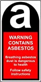 Warning Contains Asbestos 25 x 50mm Safety Labels - Roll of 500 Labels