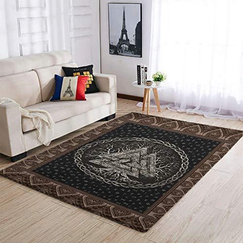 Alfombra lavable de estilo vikingo Valknut y árbol de la vida para decorar el suelo – para dormitorio de los niños, color blanco 50 x 80 cm