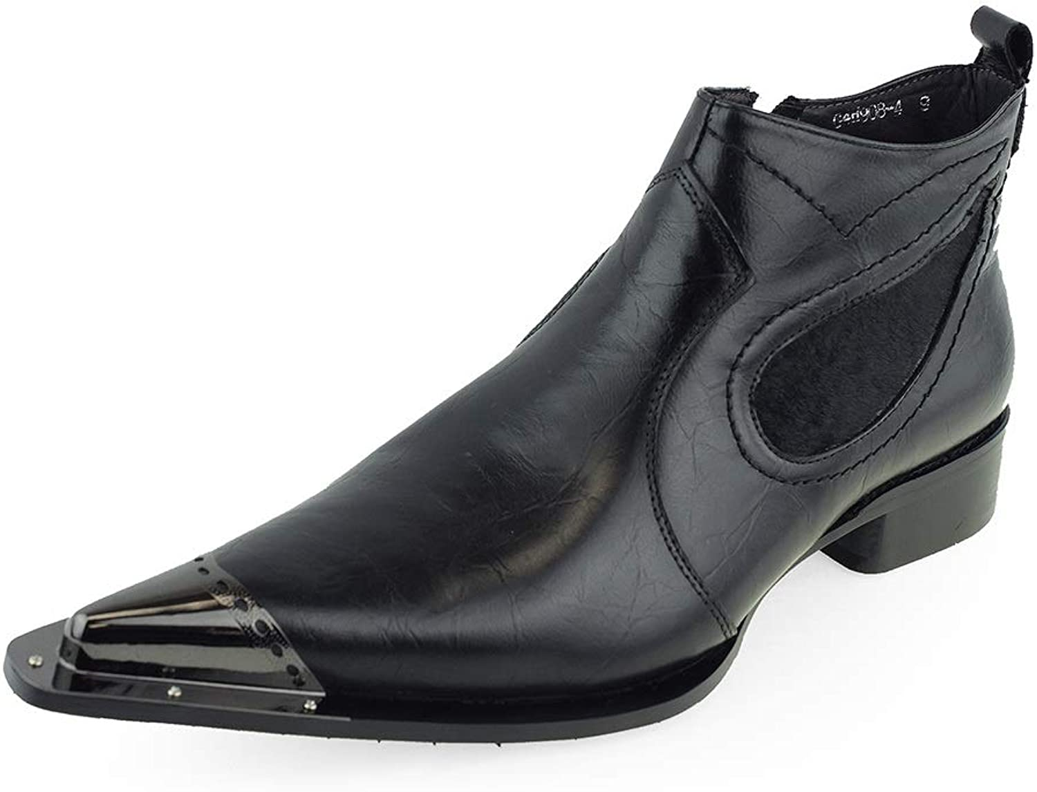 Men's Fashionable Ankle Boots Pointed Metal Toe (color   Black, Size   7.5 UK)
