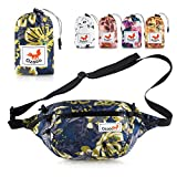 Ozaeo Travel Waist Bag, Water Resistant, Lightweight, Hiking Fanny Pack with 3-Zipper Pockets and Adjustable Strap Flower Blue