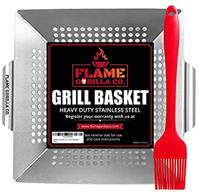 Flame Gorilla Co. Grill Basket - Vegetable Grill Baskets for Outdoor Grill - Veggie and Shrimp Grilling Basket That Makes for Perfect Barbecue Grilling Accessories for Smoker - Bonus Basting Brush