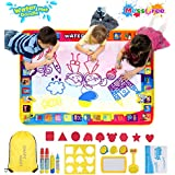 Shape Mart Aqua Doodle Mat - Large Drawing Water Doodle Mat for Toddler, Mess Free Paiting Mat with Magic Pens, Educational Toys for Kids Age 2 3 4 5 6 7 8 Years Old