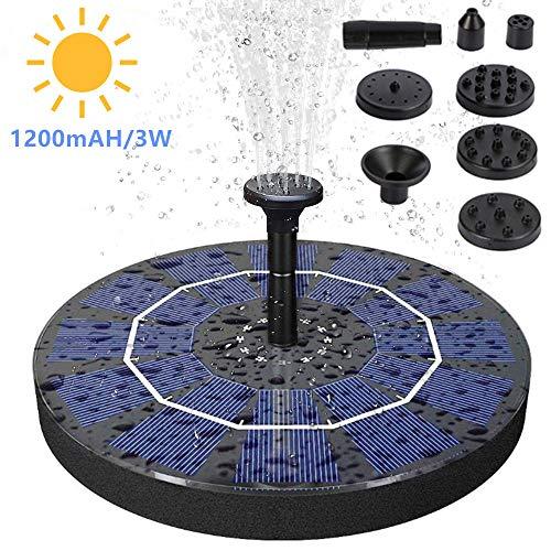 SAMMIU Verbesserte 3W Solar Springbrunnenpumpe Solar Teichpumpe Höhere Effizienz Solar Springbrunnen mit Batterieunterstützung Freistehend für Vogelbad, Garten, Hinterhof und kleinen Teich