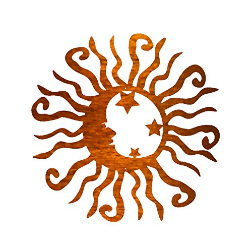 Wacky Solar Moon Stars Metal Wall Art Steel Outdoor Decor, Vivid Celestial Sun Moon Star Metal Wall Decor for Garden Patio Porch Home Living Room Bedroom, Plaque Sunburst Art Hanging Sign (Orange 1PC)