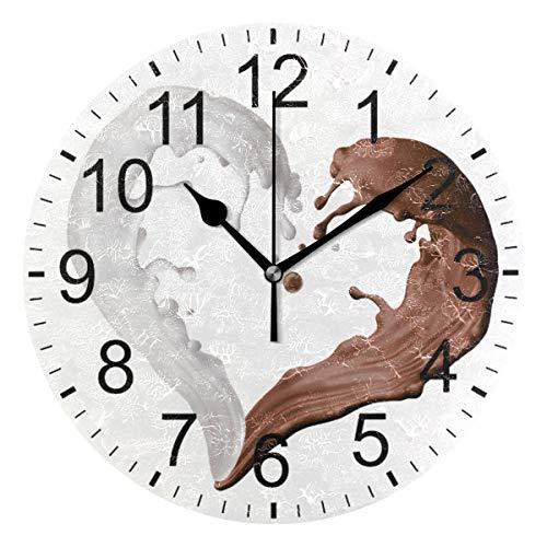 SENNSEE Wanduhr, braunes weißes Herz, für Wohnzimmer, Schlafzimmer, Küche, batteriebetrieben, runde Uhr für Heimdekoration, Kunst