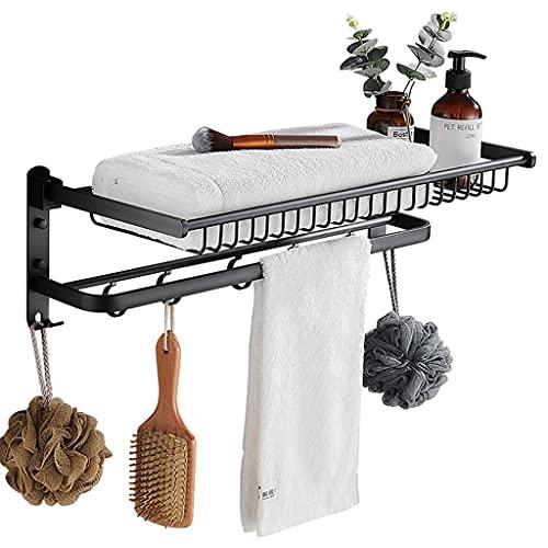 YJKDM Toallero Plegable, toallero de Pared, con Ganchos, para Guardar el baño y la Cocina, Zapatero y Zapatillas, Albornoz y toallero, 60 cm / 23,6 Pulgadas