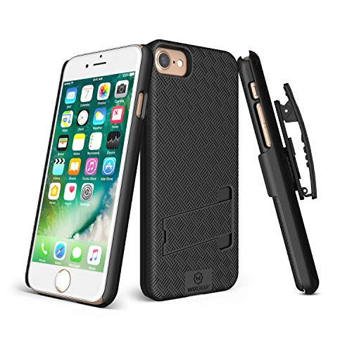 iPhone 8, iPhone 7 Holster, WixGear Shell Holster Combo Case for Apple iPhone 7 with Stand and Belt Clip - Black (iPhone 7/8)