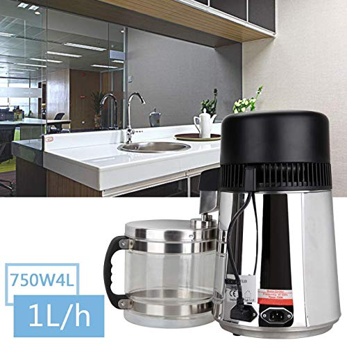 XuanYue Water Distiller 4L Stainless Steel Water Distiller Machine for Home Distilled Water with Glass Connection Bottle