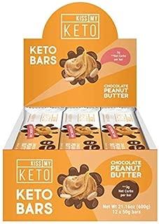 Kiss My Keto Snacks Keto Bars – Keto Chocolate Peanut Butter, Nutritional Keto Food Bars, Paleo, Low Carb/Glycemic Keto Friendly Foods, All Natural On-The-Go Snacks, Quality Fat Bars 3g Net Carbs