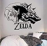Vinilos De Pared De Vinilo Zelda Wolf Link Vinilo Etiqueta De Arte De La Pared Juego Popular Etiqueta De La Pared Para La Decoración Del Hogar 42X32Cm