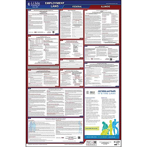 2020 Illinois State and Federal Labor Law Poster (English, IL State) - OSHA Compliant All-in-One Laminated Poster - Includes FFCRA Poster