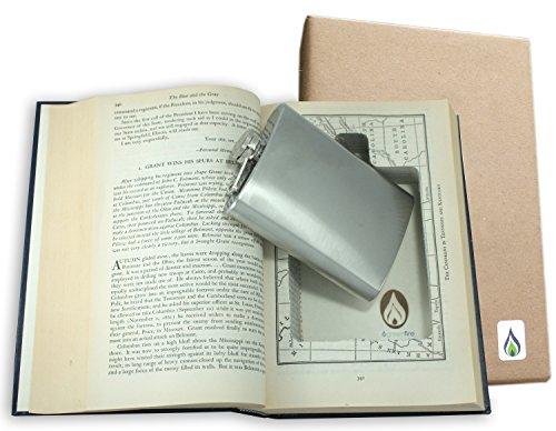 SneakyBooks - Finta cassaforte a forma di libro riciclato, con scomparto segreto per nascondervi fiaschette di liquore (fiaschetta inclusa)