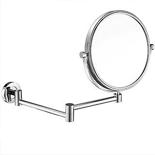 مرآة مكياج تثبت على الحائط مع تكبير 10 مرات، مرآة تجميل مزدوجة الجوانب 360 دوارة قابلة للتمدد، مرآة حلاقة الحمام