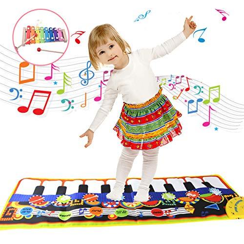 YORKOO Geschenke zum 2-5 Jahre Alt Mädchen Jungen Kinder Piano Mat Xylophon Einstellen zum Kinder Tanzmatten Baby Musikin Strumente Elektronisches Spielzeug Geburtstags Geschenke für Kleinkinder
