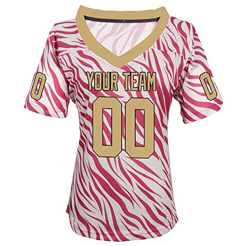 Pullonsy Pink Zebra Pattern Custom Football Jerseys for Women Embroidery Names and Numbers,Gold-Black,Size S