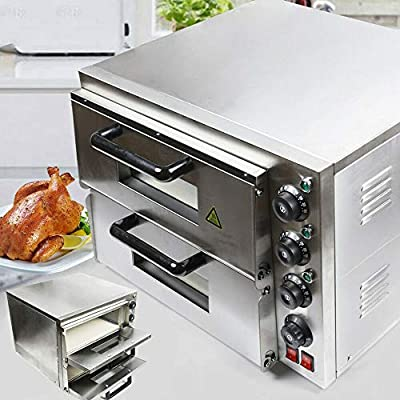 Electric Pizza Oven 2KW/3KW 1/2 Deck Pizza Oven w/Dedicated Pizza Drawer Stainless Steel,Electric Pizza Oven Single/Double Deck Fire Stone Stainless Steel Ceramic Stone (Double)