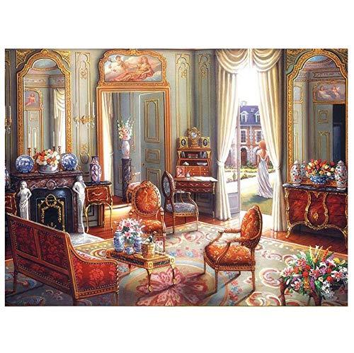 5D Bricolaje Pintura De Diamante Digital Flores De Interior Silla De Escritorio Floral Mosaico Punto De Cruz Rhinestone Bordado Habitación Regalos Decoración De La Pared 40×50cm