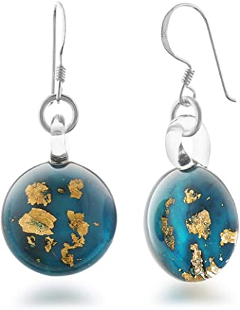 925 Sterling Silver Hand Blown Venetian Murano Glass Golden Stardust Blue Sky Dangle Earrings