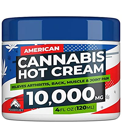 EMP Cream for Pain Relief - 10,000 Strength Hemp Oil - Made in USA - Natural Treatment for Joint, Muscle, Sciatica & Back Pain Relief - Hot Cream with Menthol & Eucalyptus from Peakright