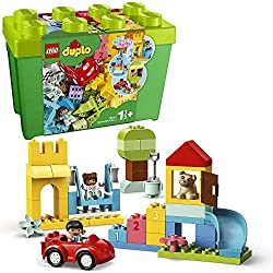 Features 85 colourful bricks including many fun, familiar pieces – a car, windows, flowers, balloons, gifts, cake and number-bricks Includes a boy and girl Duplo figures, 1-2-3 number-learning bricks, a dog figure, slide, shovel, bucket, opening wind...