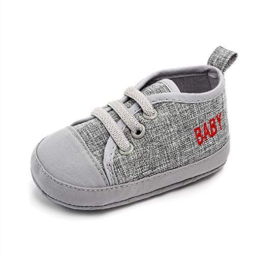 THEE BRON Infant Toddler Baby Soft Sole Leather Shoes for Girls Boys Walking Sneakers (12-18 Months Infant, Silver)