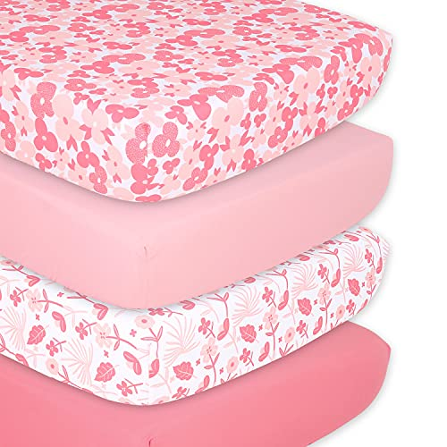 The Peanutshell Floral & Blush Pink Fitted Crib Sheet Set for Baby Girls   4 Pack Set   Floral Punch & Solid Pink