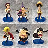 6 Pieces/Set One Piece Charlotte Dessert Three Stars Luffy PVC Action Figure Op Collectible Model Toy