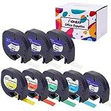 Hehua 8 pack kompatibel Dymo lt Etikettenbands Plastic 91221 (3pack) 91222 91223 91224 91225 12267, Dymo Letratag Etikettenband 12mm x 4m für LT-100H LT-100T Plus LT-110T QX50 XR Etikettiermaschine