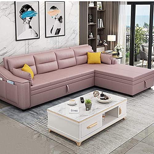SND-A 3-Seater L-Shaped Corner Sofa Fabric Sectional Couch Convertible Bed,Folding Pull-Out Couch with Practical Storage Box And Side Storage Pocket for Living Room,Strong Load-Bearing,Pink,212CM