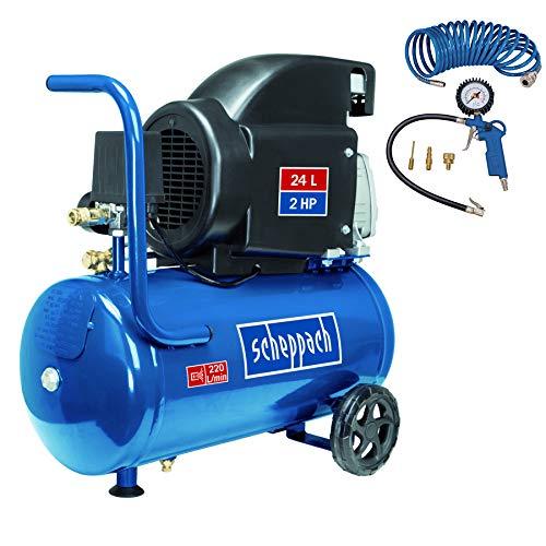 SCHEPPACH SET HC26 Druckluft Kompressor (24 Liter Kesselvolumen, 8 bar Druck, Inkl. 5m Spiralschlauch und Reifenfüllgerät) blau 5906135917