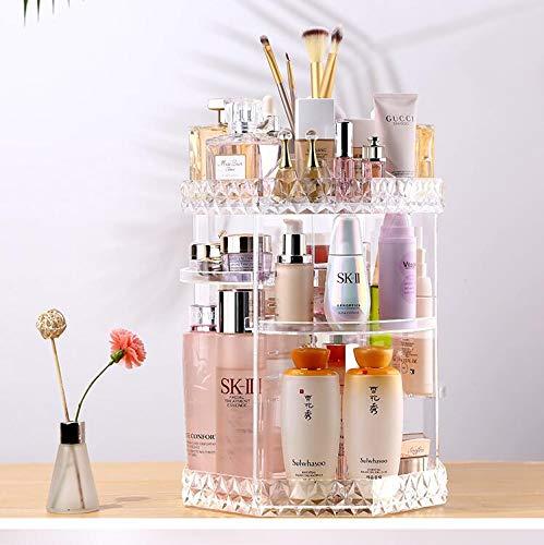 JKYQ 360 Grad Rotation Makeup Organisator Diamantdekoration Machen Speicher Kosmetik Parfüms Display Stand Box im Schlafzimmer Bad und Wohnzimmer Crystal Clear