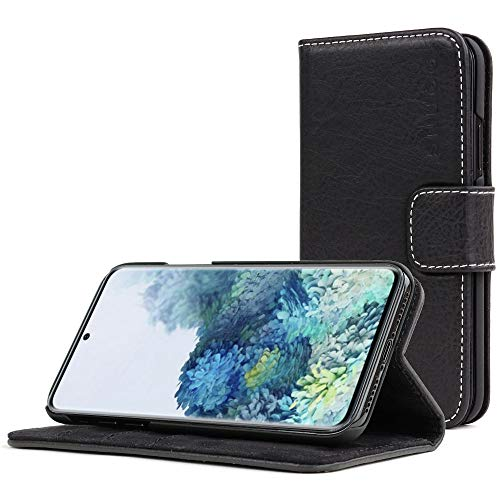 Snugg Samsung S10 Wallet Case – Leather Card Case Wallet with Handy Stand Feature – Legacy Series Flip Phone Case Cover in Blackest Black