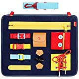 Toddler Busy Board - Montessori Basic Skills Activity Board for Fine Motor Skills