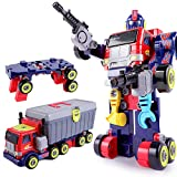 iPlay, iLearn Kids 3 in 1 Large Transformer Toys, Transform into Robot Action Figure, Truck & Tool Workbench, Preschool STEM Converting Toy Set, Learning Gifts for 3 4 5 6 7 8 9 Year Olds Boys Child