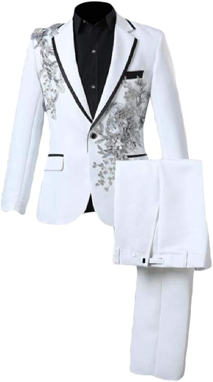 SpaceAngel Men Sequin Notched Collar Suit Blazer Jacket Pants 2 Pieces Suit Set