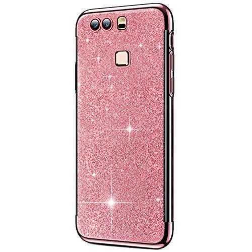 IKASEFU Schutzhülle für Huawei P9 Plus, glänzend, stoßfest, glitzernd, süßes weiches TPU-Silikon, dünn, stoßfest, kompatibel mit Huawei P9 Plus rose gold