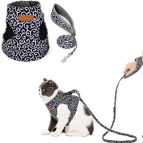 XXDYF Katzengeschirr Geschirr für Katzen Verstellbar Geschirr Katzen Weste mit Leine, Katzengarnitur Ausbruchsicher, für Katzen,Blau,S