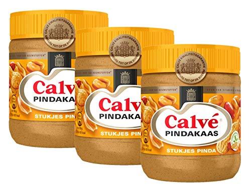 Calvé - Erdnussbutter mit Nussstücken - 350 Gramm - Packung à 3 Stück