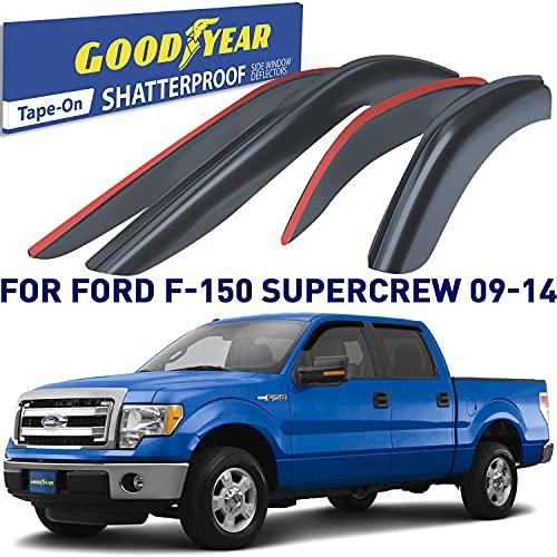 Goodyear Shatterproof Window Deflectors for Trucks Ford F150 2009 2010 2011 2012...