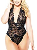 Lingerie for Women Plus Size, Halter Lace Bodysuit Sexy One Piece Plunging Teddy (Black, 3XL)