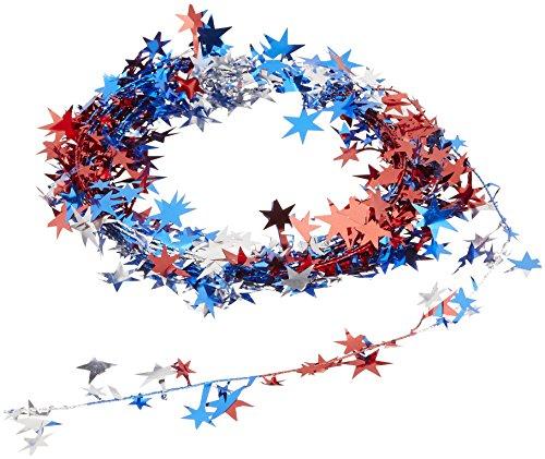 Beistle Gleam 'N Flex Star Garland, 25-Feet, Red/Silver/Blue