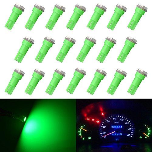 Lot de 10 ampoules LED KaTur pour tableau d'instrumentation de voiture - T5 70 73 74 79 85 86 206 406 LED 5050 1SMD - Blanches - 1 W 12 V