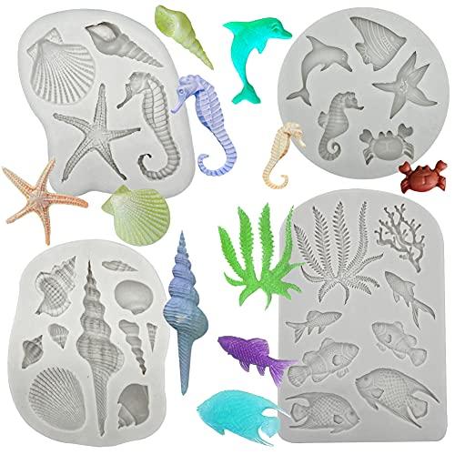 4PCS Marine Theme Fondant Silicone Mold Seaweed Sea Fish Crab Coral Conch Sea Shells Shape DIY Handmade Baking Tools, For Theme Cake Cookie Chocolate Candy Decoration Fondant Polymer Clay